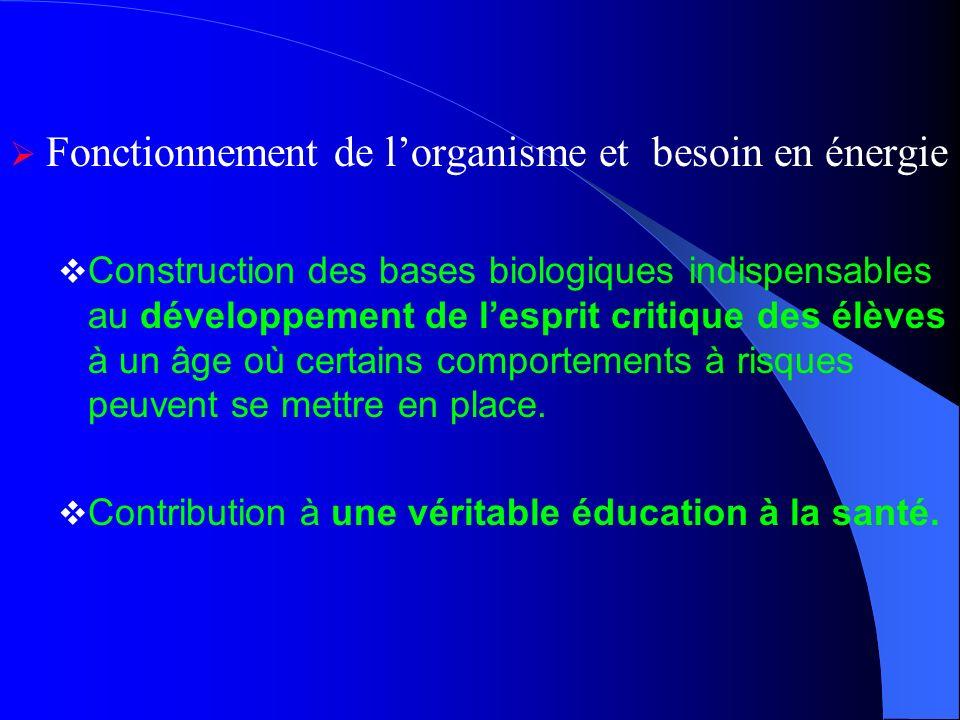 Fonctionnement de lorganisme et besoin en énergie Construction des bases biologiques indispensables au développement de lesprit critique des élèves à