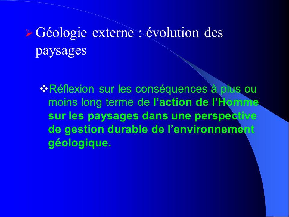 Géologie externe : évolution des paysages Réflexion sur les conséquences à plus ou moins long terme de laction de lHomme sur les paysages dans une per