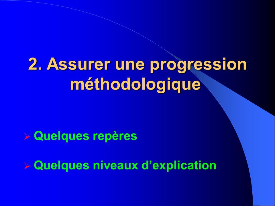 2. Assurer une progression méthodologique 2. Assurer une progression méthodologique Quelques repères Quelques niveaux dexplication