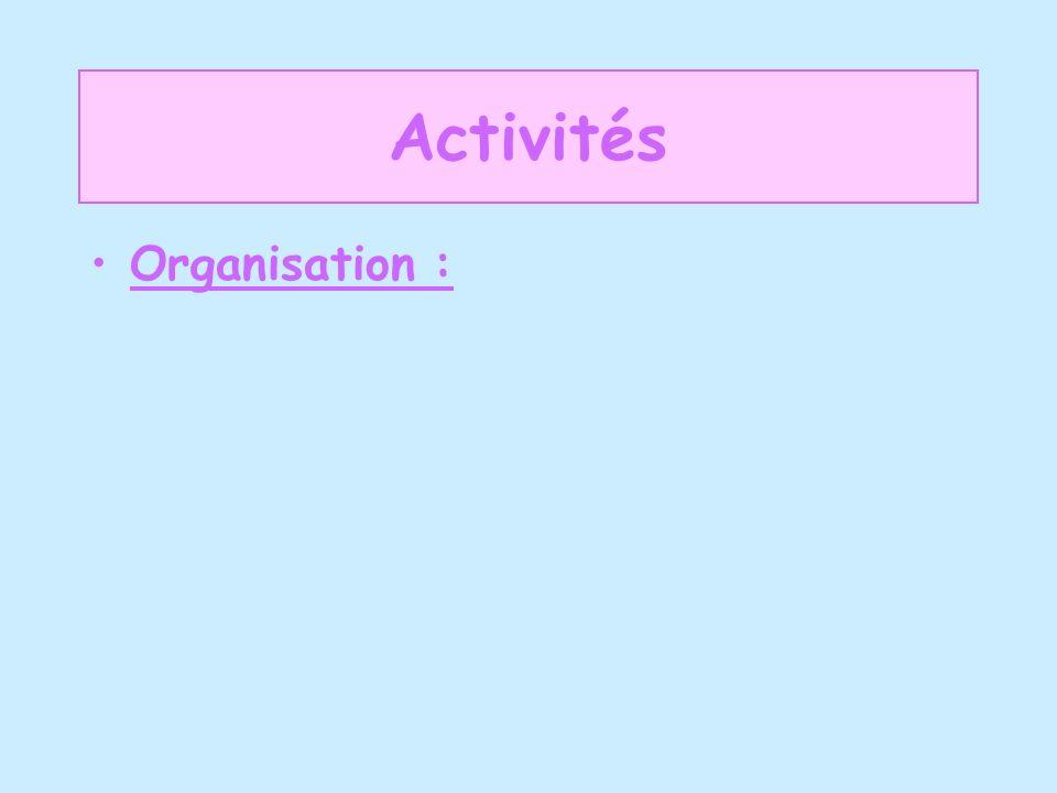Activités Organisation :
