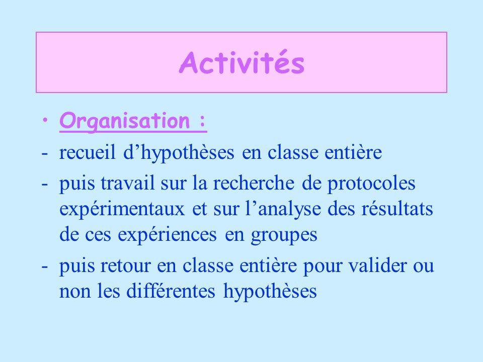 Activités Organisation : -recueil dhypothèses en classe entière -puis travail sur la recherche de protocoles expérimentaux et sur lanalyse des résulta
