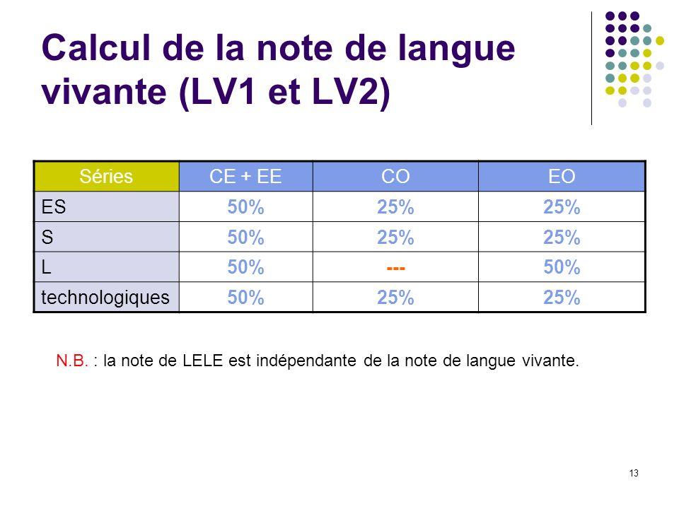 13 Calcul de la note de langue vivante (LV1 et LV2) SériesCE + EECOEO ES50%25% S50%25% L50%---50% technologiques50%25% N.B. : la note de LELE est indé