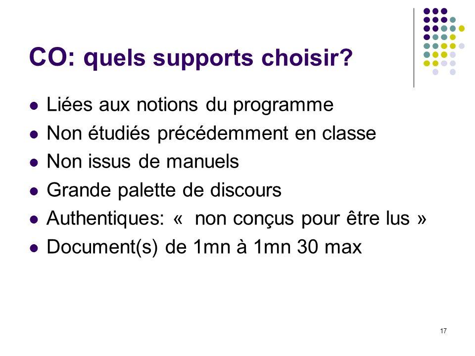 17 CO: q uels supports choisir? Liées aux notions du programme Non étudiés précédemment en classe Non issus de manuels Grande palette de discours Auth