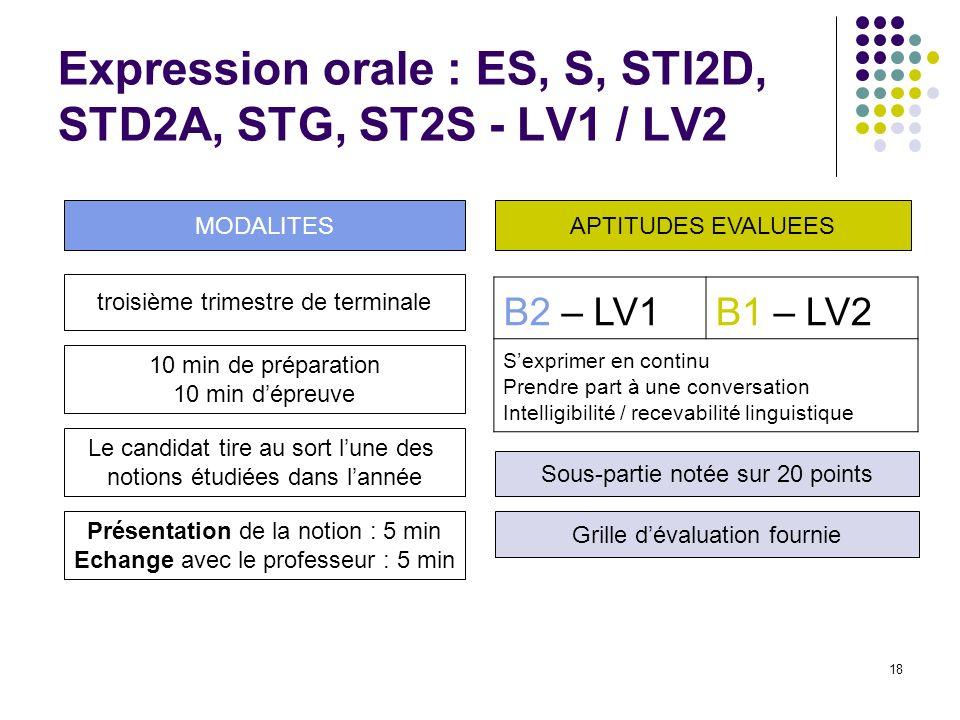 18 Expression orale : ES, S, STI2D, STD2A, STG, ST2S - LV1 / LV2 B2 – LV1B1 – LV2 Sexprimer en continu Prendre part à une conversation Intelligibilité