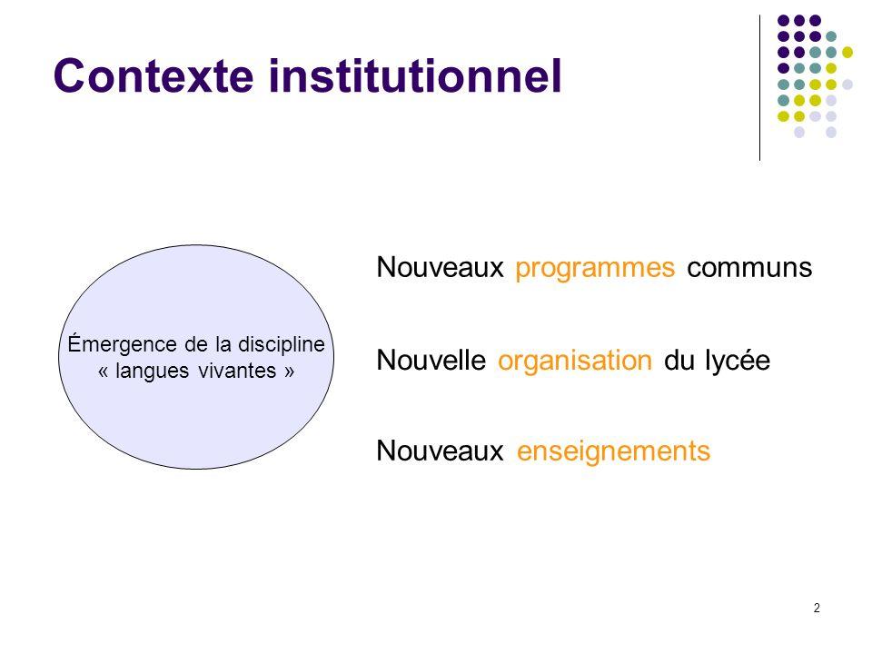 2 Contexte institutionnel Nouveaux enseignements Émergence de la discipline « langues vivantes » Nouveaux programmes communs Nouvelle organisation du