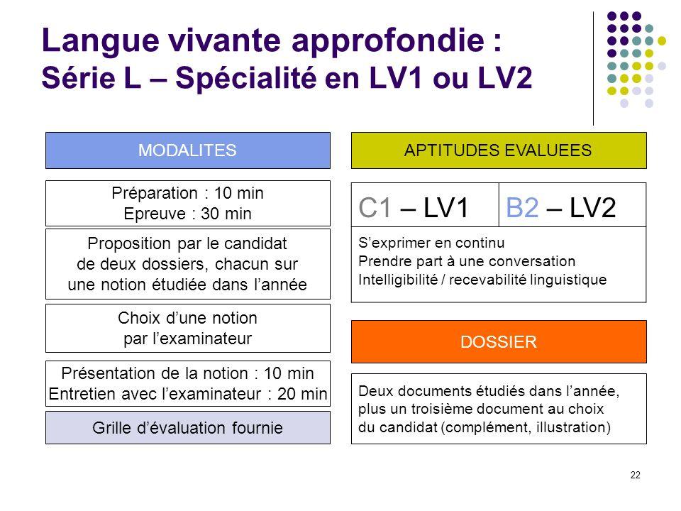 22 Langue vivante approfondie : Série L – Spécialité en LV1 ou LV2 Préparation : 10 min Epreuve : 30 min Proposition par le candidat de deux dossiers,