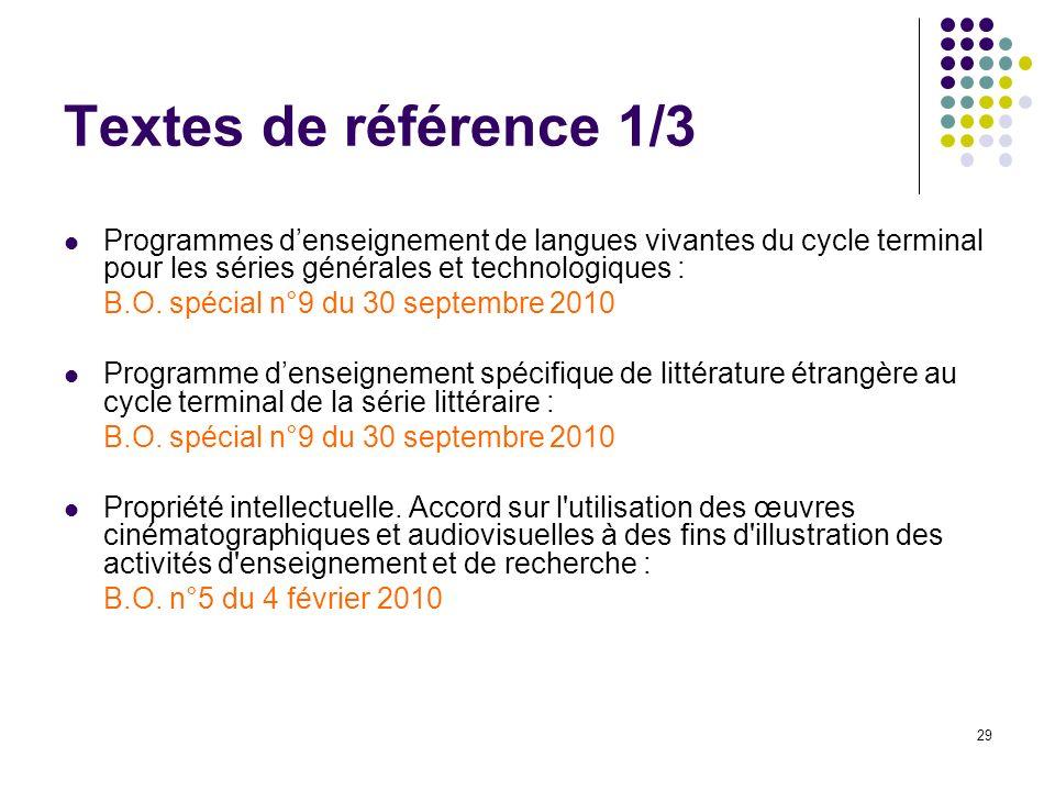 29 Textes de référence 1/3 Programmes denseignement de langues vivantes du cycle terminal pour les séries générales et technologiques : B.O. spécial n