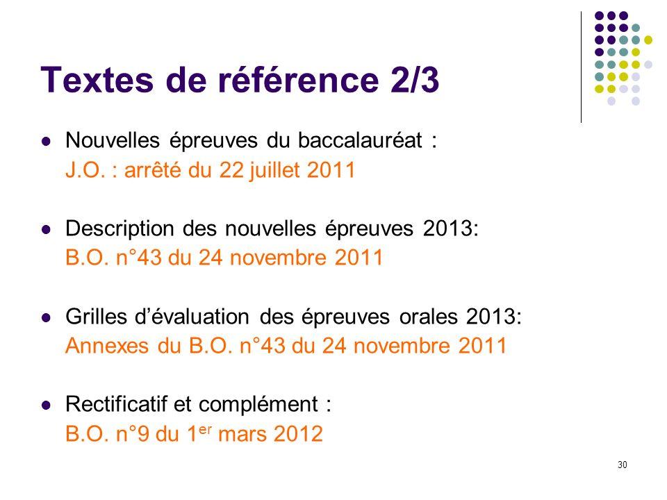 30 Textes de référence 2/3 Nouvelles épreuves du baccalauréat : J.O. : arrêté du 22 juillet 2011 Description des nouvelles épreuves 2013: B.O. n°43 du