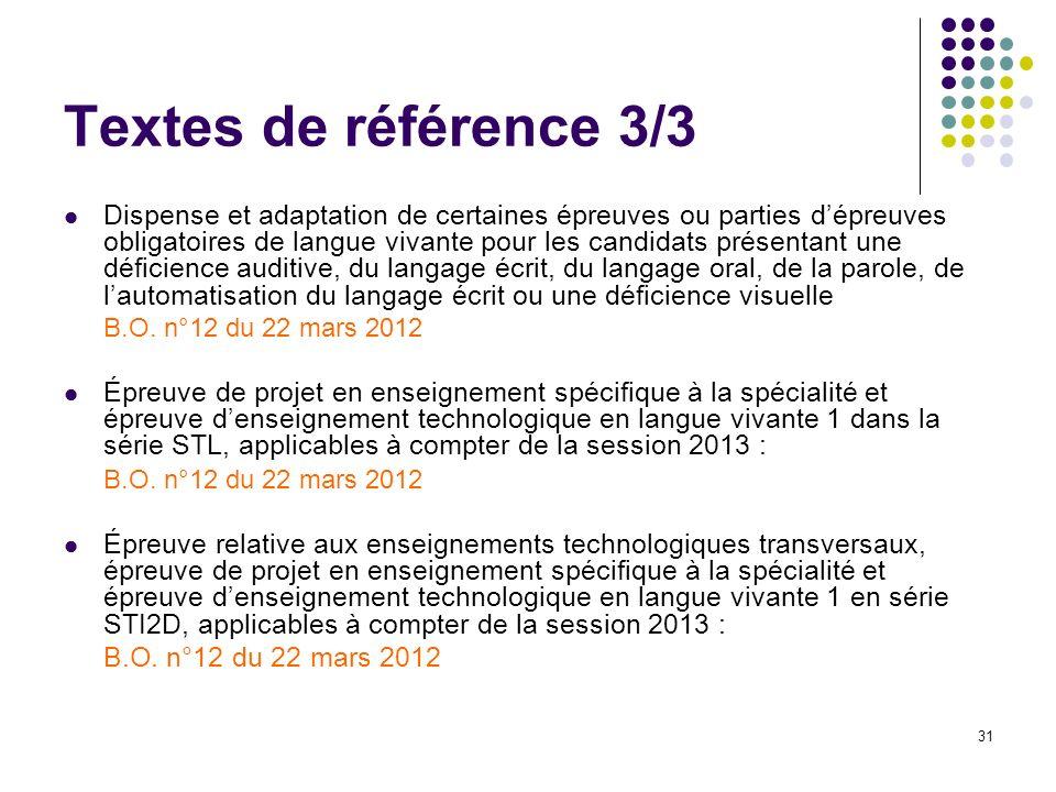 31 Textes de référence 3/3 Dispense et adaptation de certaines épreuves ou parties dépreuves obligatoires de langue vivante pour les candidats présent