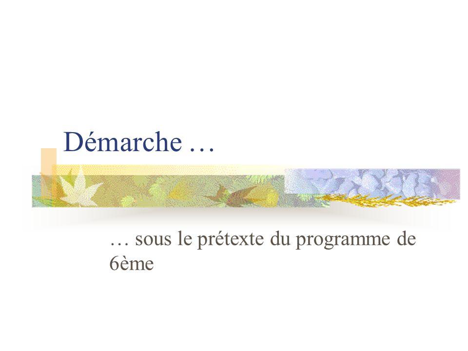 Démarche … … sous le prétexte du programme de 6ème