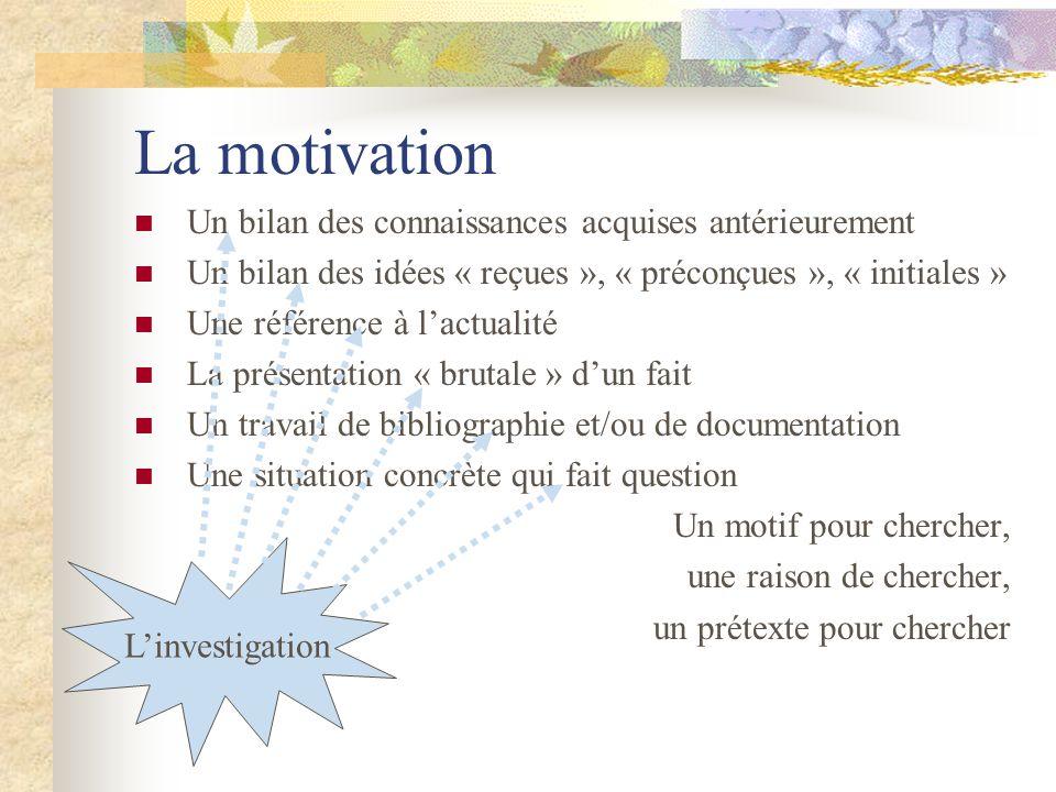 La motivation Un bilan des connaissances acquises antérieurement Un bilan des idées « reçues », « préconçues », « initiales » Une référence à lactuali