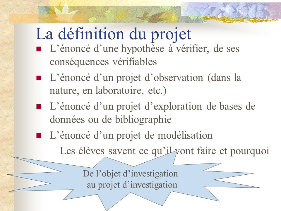 La définition du projet Lénoncé dune hypothèse à vérifier, de ses conséquences vérifiables Lénoncé dun projet dobservation (dans la nature, en laborat