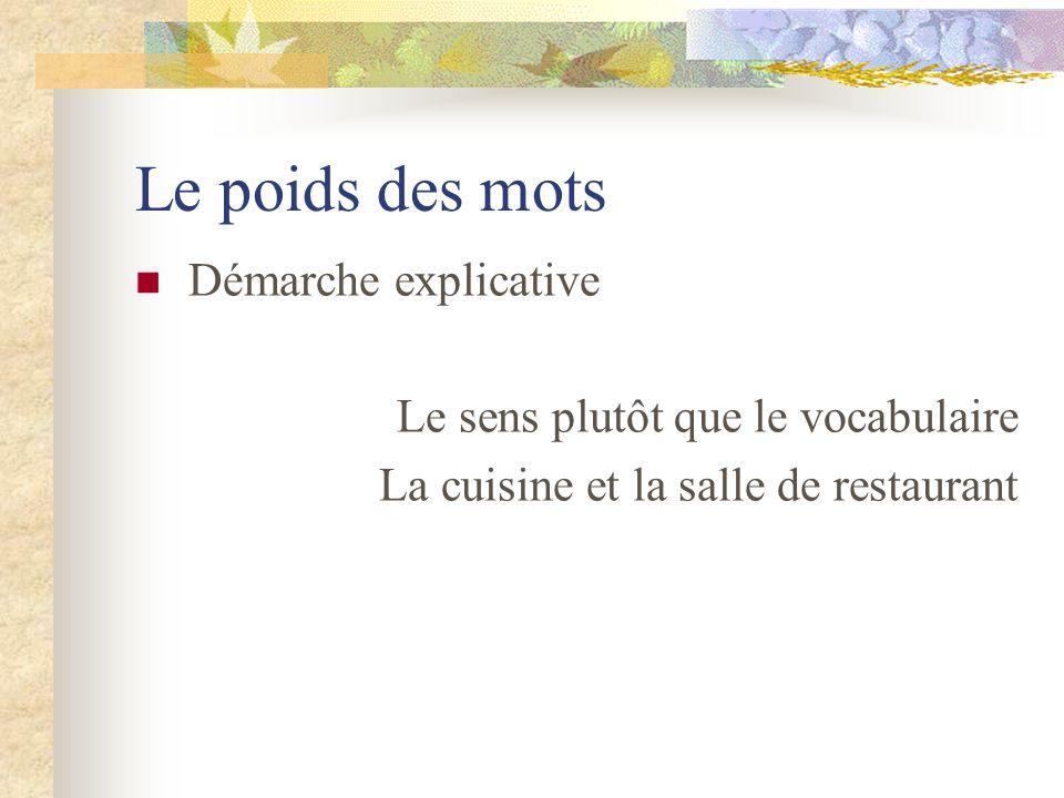 Le poids des mots Démarche explicative Le sens plutôt que le vocabulaire La cuisine et la salle de restaurant