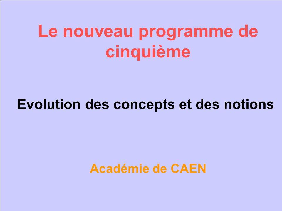 Le nouveau programme de cinquième Evolution des concepts et des notions Académie de CAEN
