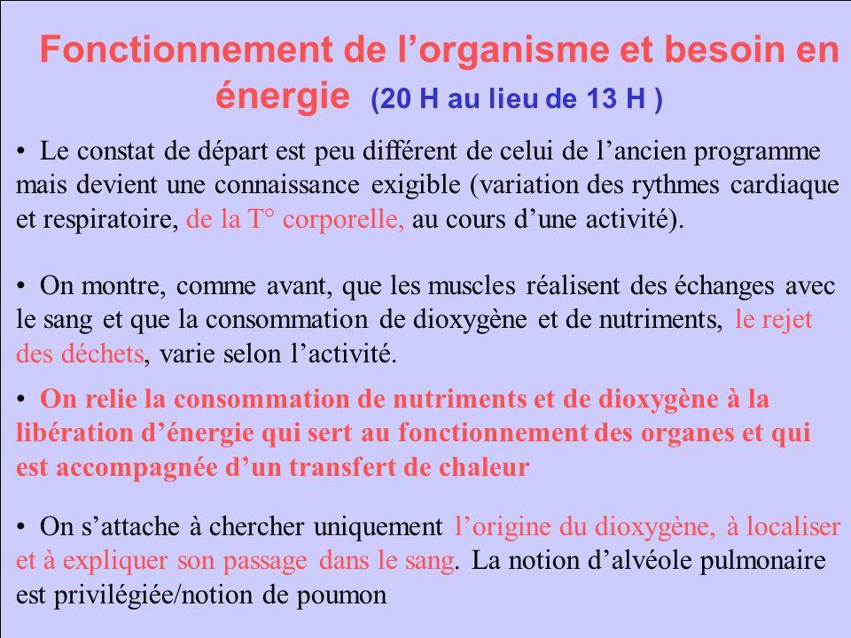 Fonctionnement de lorganisme et besoin en énergie (20 H au lieu de 13 H ) Le constat de départ est peu différent de celui de lancien programme mais de