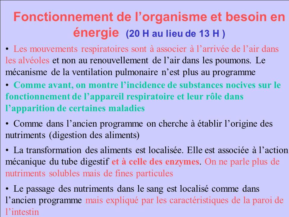 Fonctionnement de lorganisme et besoin en énergie (20 H au lieu de 13 H ) Les mouvements respiratoires sont à associer à larrivée de lair dans les alv