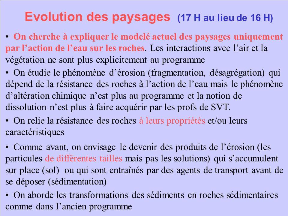Evolution des paysages (17 H au lieu de 16 H) On cherche à expliquer le modelé actuel des paysages uniquement par laction de leau sur les roches. Les
