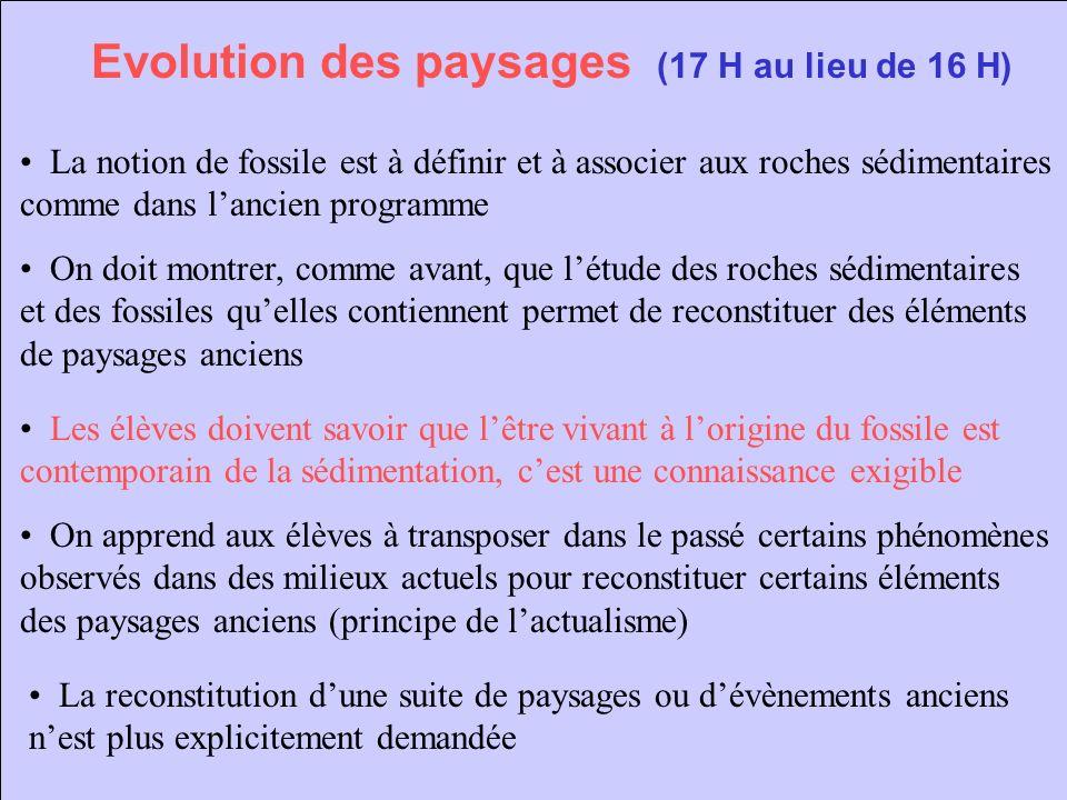 Evolution des paysages (17 H au lieu de 16 H) La notion de fossile est à définir et à associer aux roches sédimentaires comme dans lancien programme L