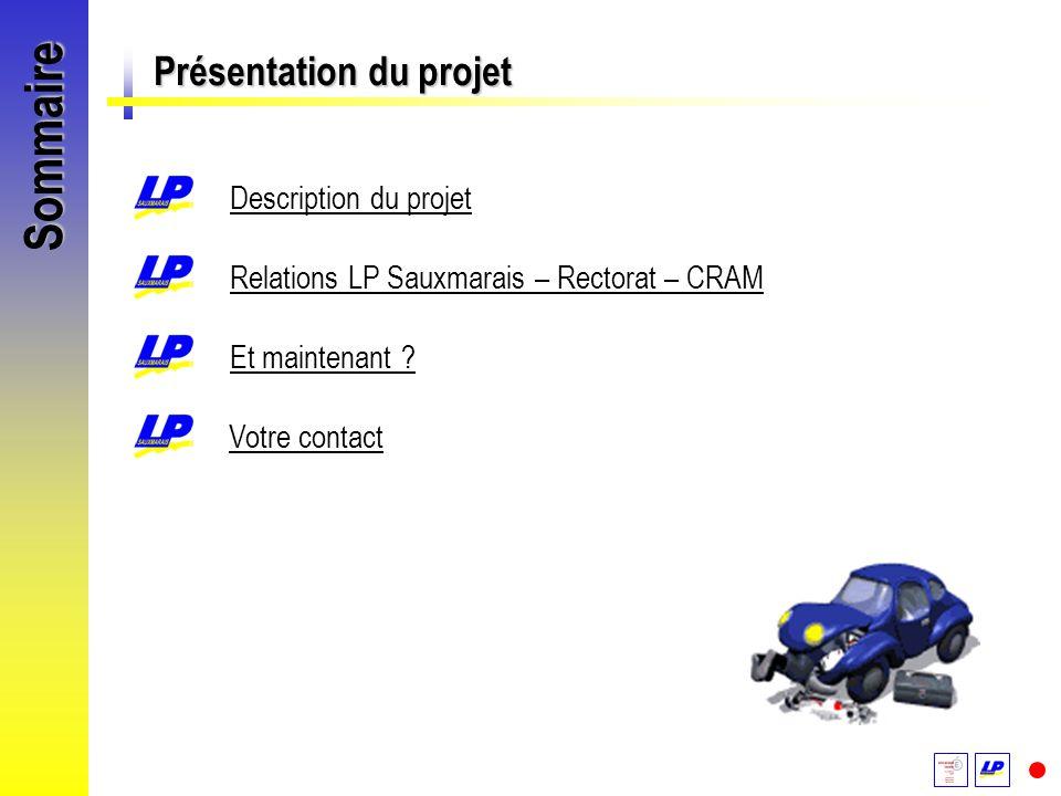 Sommaire Présentation du projet Description du projet Relations LP Sauxmarais – Rectorat – CRAM Et maintenant ? Votre contact