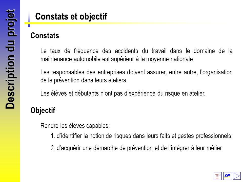 Description du projet Constats et objectif Objectif Constats Le taux de fréquence des accidents du travail dans le domaine de la maintenance automobil