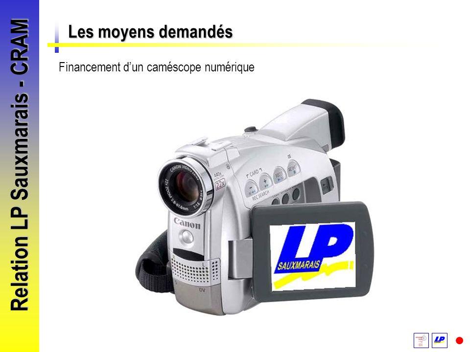 Relation LP Sauxmarais - CRAM Les moyens demandés Financement dun caméscope numérique