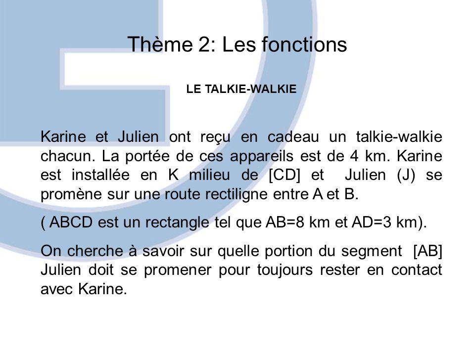 Thème 2: Les fonctions LE TALKIE-WALKIE Karine et Julien ont reçu en cadeau un talkie-walkie chacun. La portée de ces appareils est de 4 km. Karine es