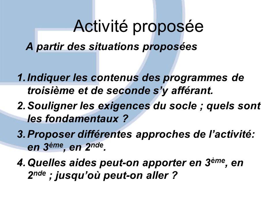 Activité proposée A partir des situations proposées 1.Indiquer les contenus des programmes de troisième et de seconde sy afférant. 2.Souligner les exi