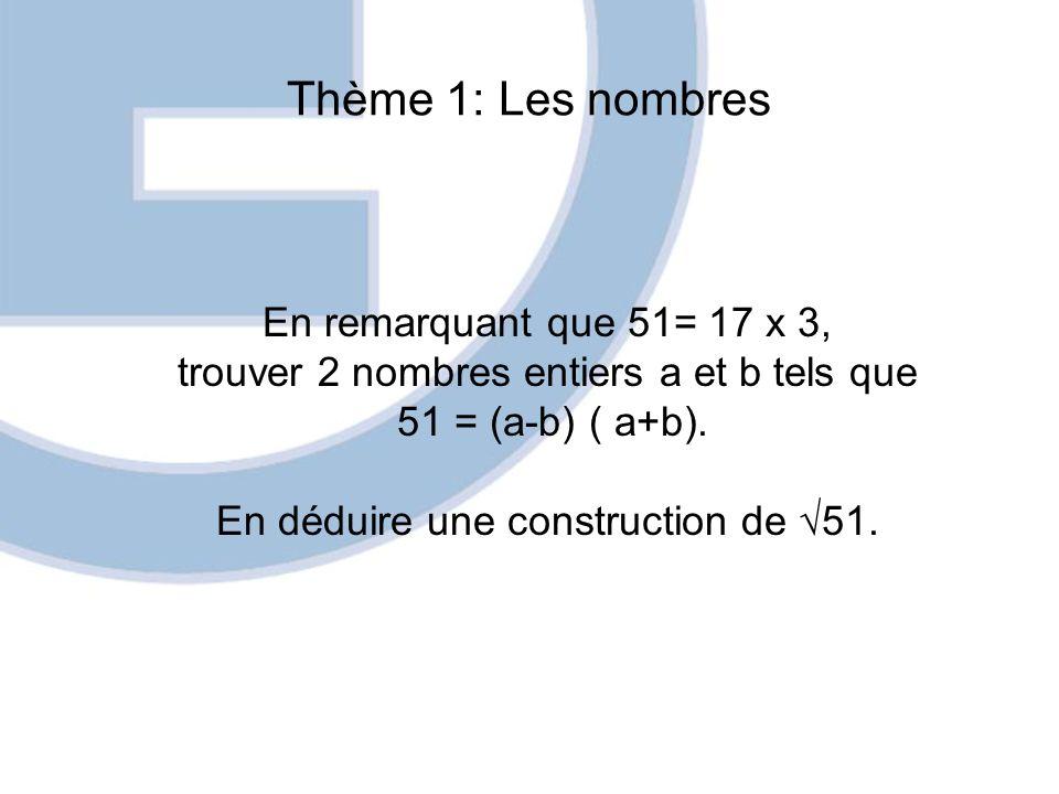 Thème 1: Les nombres En remarquant que 51= 17 x 3, trouver 2 nombres entiers a et b tels que 51 = (a-b) ( a+b). En déduire une construction de 51.