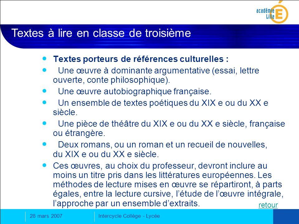 28 mars 2007Intercycle Collège - Lycée Textes porteurs de références culturelles : Une œuvre à dominante argumentative (essai, lettre ouverte, conte philosophique).