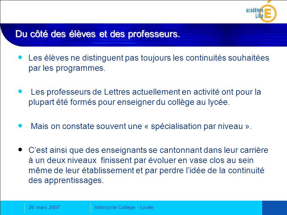 28 mars 2007Intercycle Collège - Lycée Ce que disent les programmes sur la continuité de lenseignement du français de la 6 e à la 3 e.