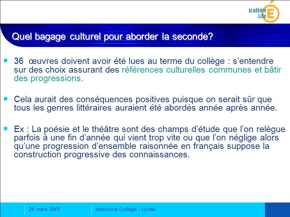 28 mars 2007Intercycle Collège - Lycée 36 œuvres doivent avoir été lues au terme du collège : sentendre sur des choix assurant des références culturelles communes et bâtir des progressions.