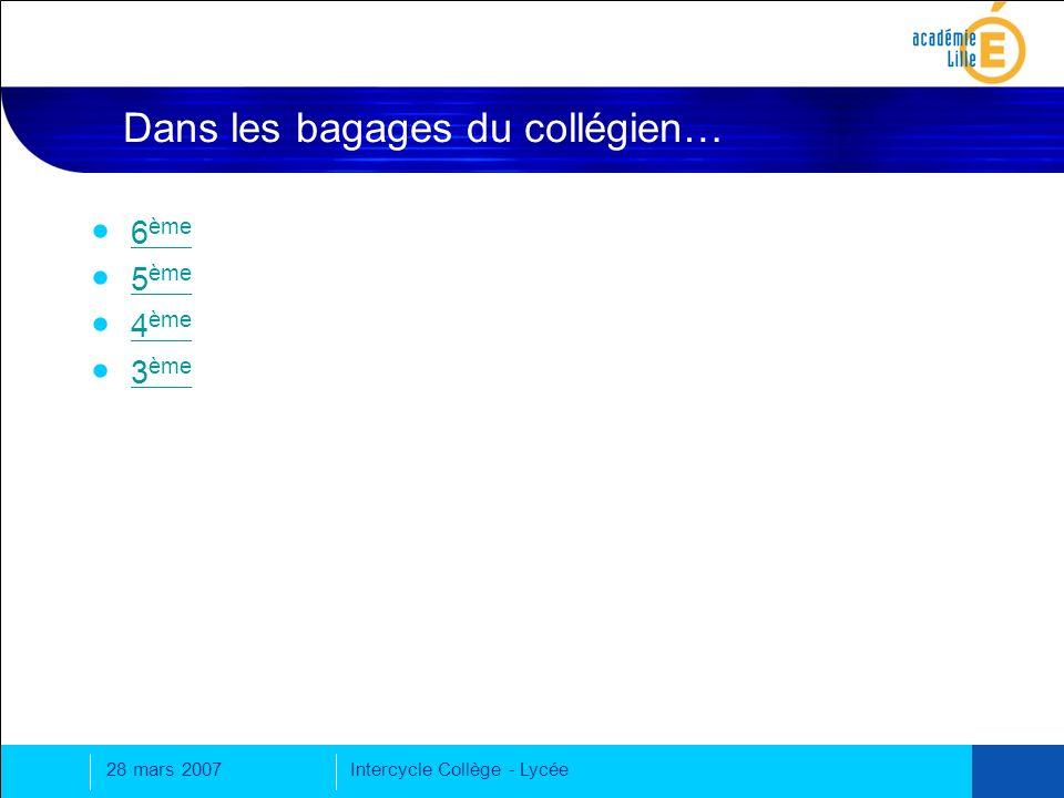 28 mars 2007Intercycle Collège - Lycée Dans les bagages du collégien… 6 ème 6 ème 5 ème 5 ème 4 ème 4 ème 3 ème 3 ème
