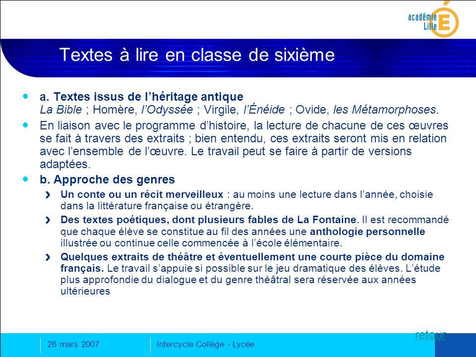 28 mars 2007Intercycle Collège - Lycée Textes à lire en classe de sixième a.
