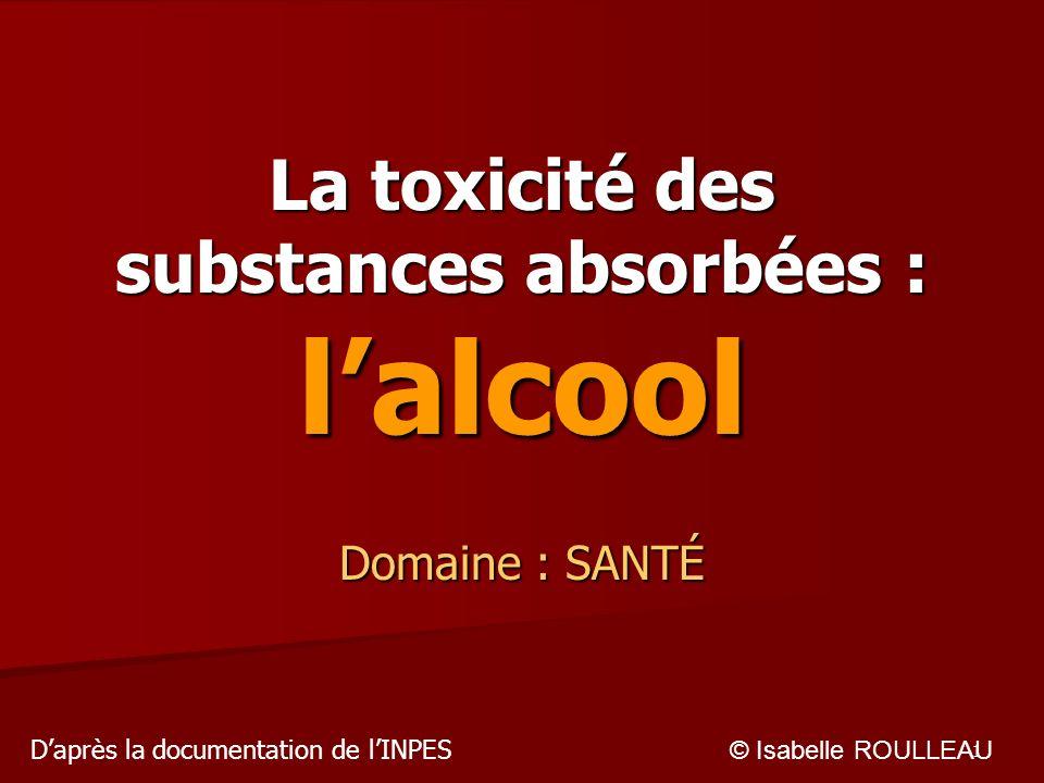 1 La toxicité des substances absorbées : lalcool Domaine : SANTÉ © Isabelle ROULLEAU Daprès la documentation de lINPES