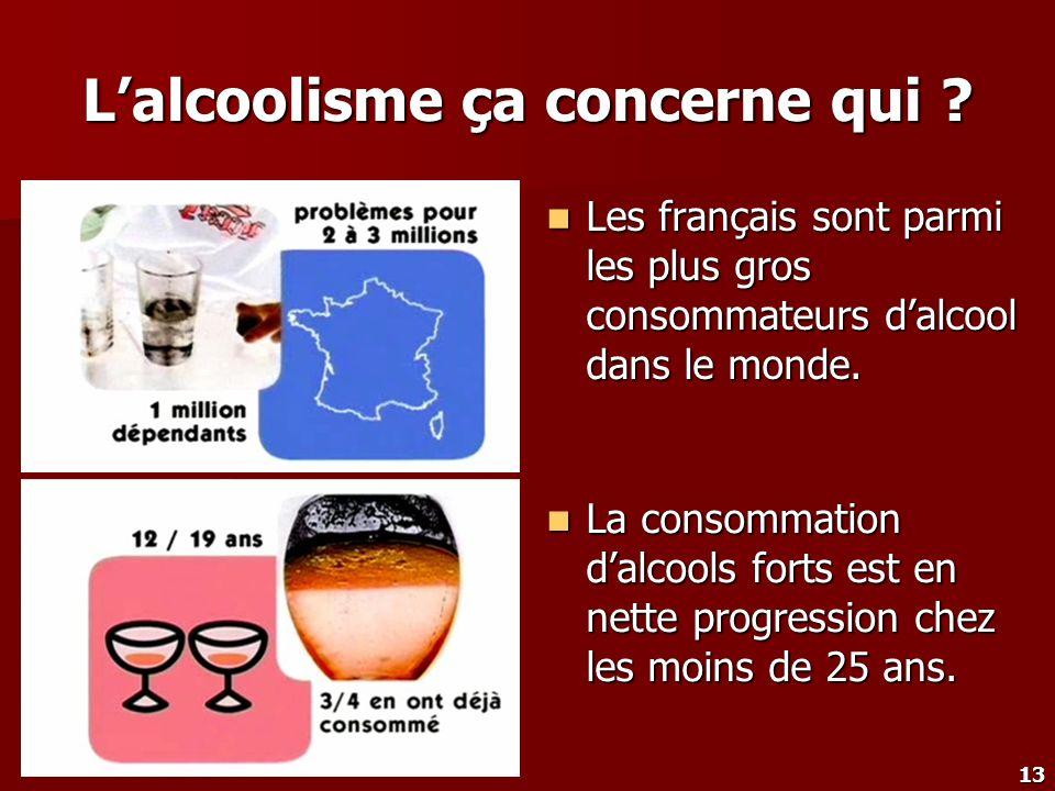 13 Lalcoolisme ça concerne qui ? Les français sont parmi les plus gros consommateurs dalcool dans le monde. Les français sont parmi les plus gros cons