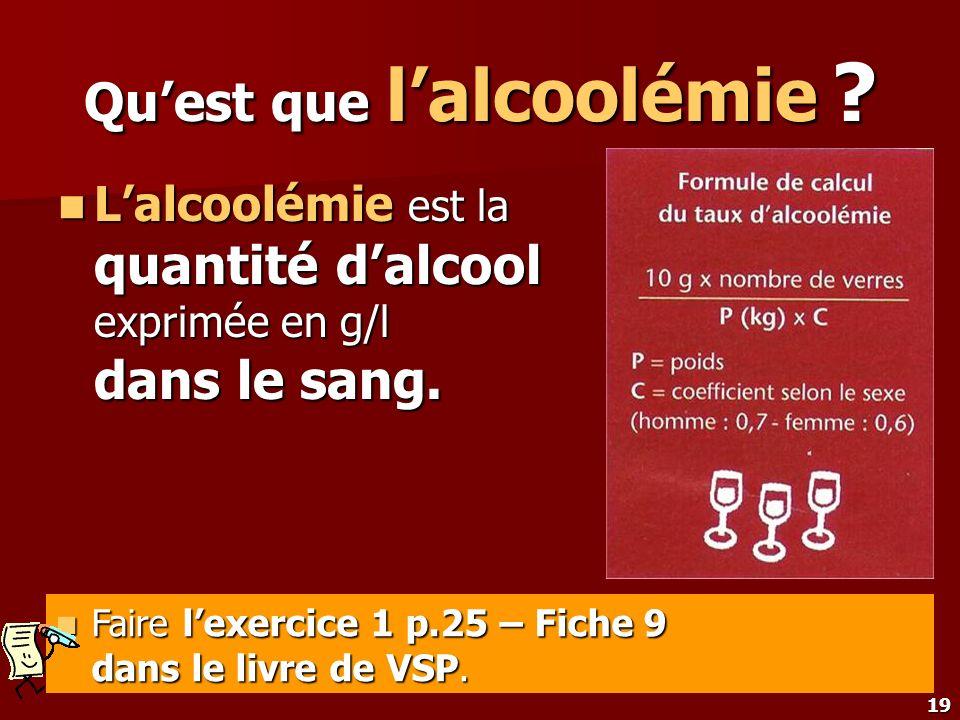 19 Quest que lalcoolémie ? Lalcoolémie est la quantité dalcool exprimée en g/l dans le sang. Lalcoolémie est la quantité dalcool exprimée en g/l dans