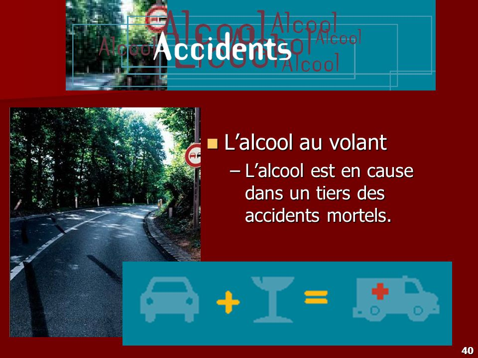 40 Lalcool au volant Lalcool au volant –Lalcool est en cause dans un tiers des accidents mortels.