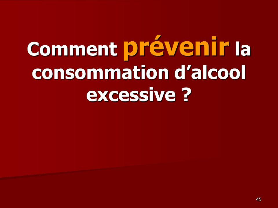 45 Comment prévenir la consommation dalcool excessive ?