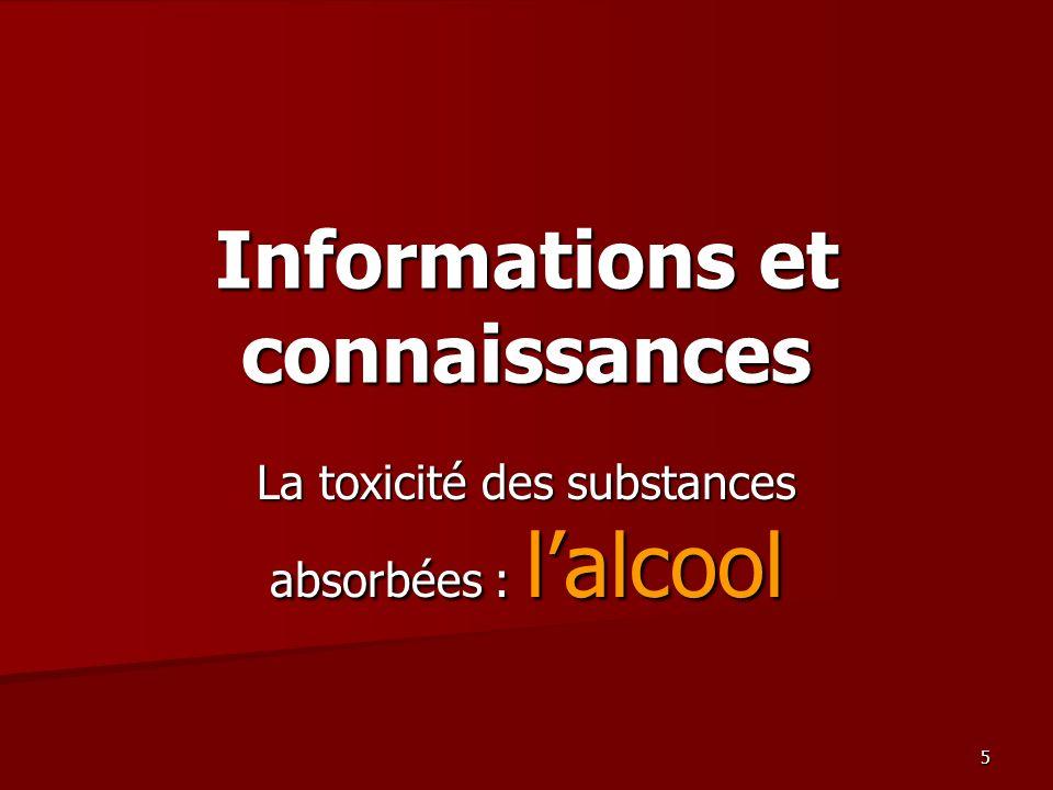 5 Informations et connaissances La toxicité des substances absorbées : lalcool
