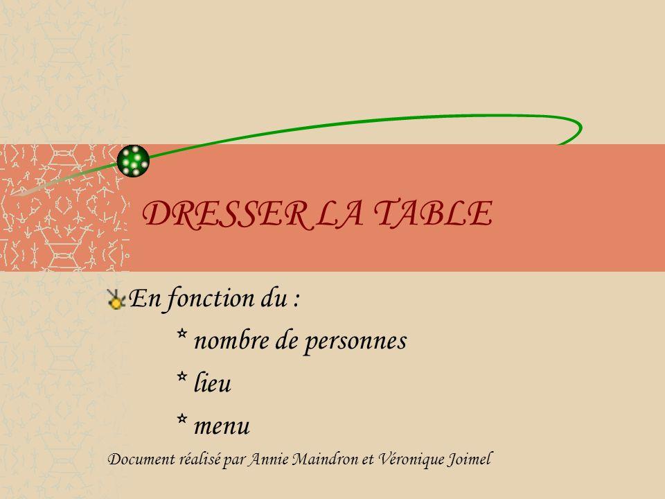 DRESSER LA TABLE En fonction du : * nombre de personnes * lieu * menu Document réalisé par Annie Maindron et Véronique Joimel