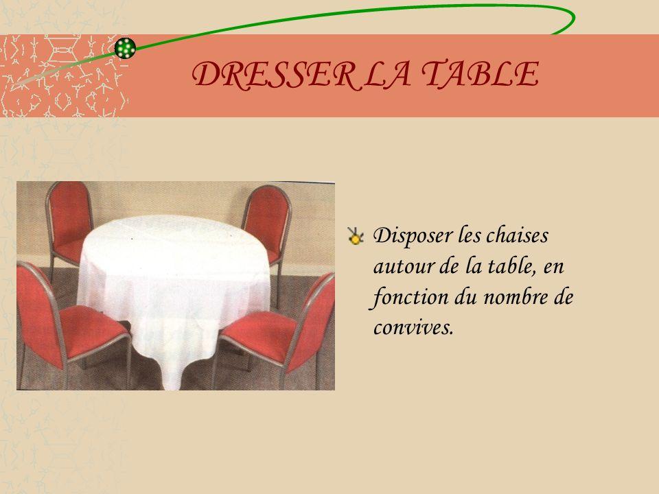DRESSER LA TABLE Disposer les assiettes : 1.Les essuyer 2.Les poser à 1 cm du bord de la table, face aux chaises