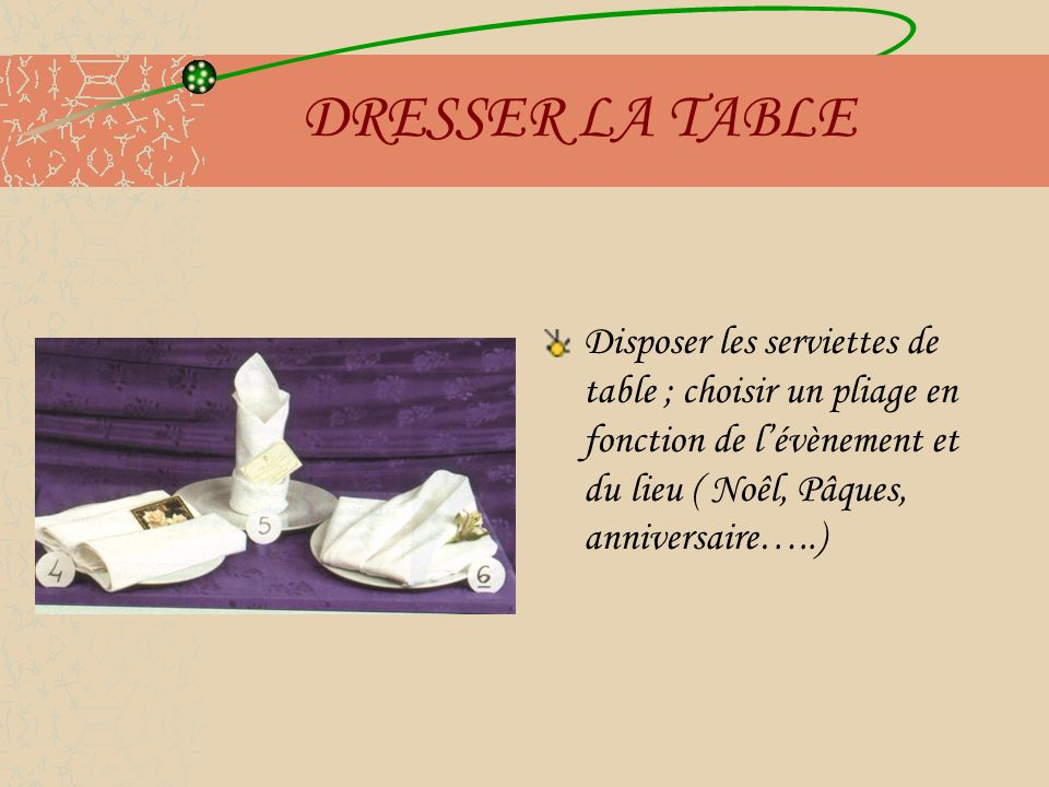 DRESSER LA TABLE Disposer les serviettes de table ; choisir un pliage en fonction de lévènement et du lieu ( Noêl, Pâques, anniversaire…..)