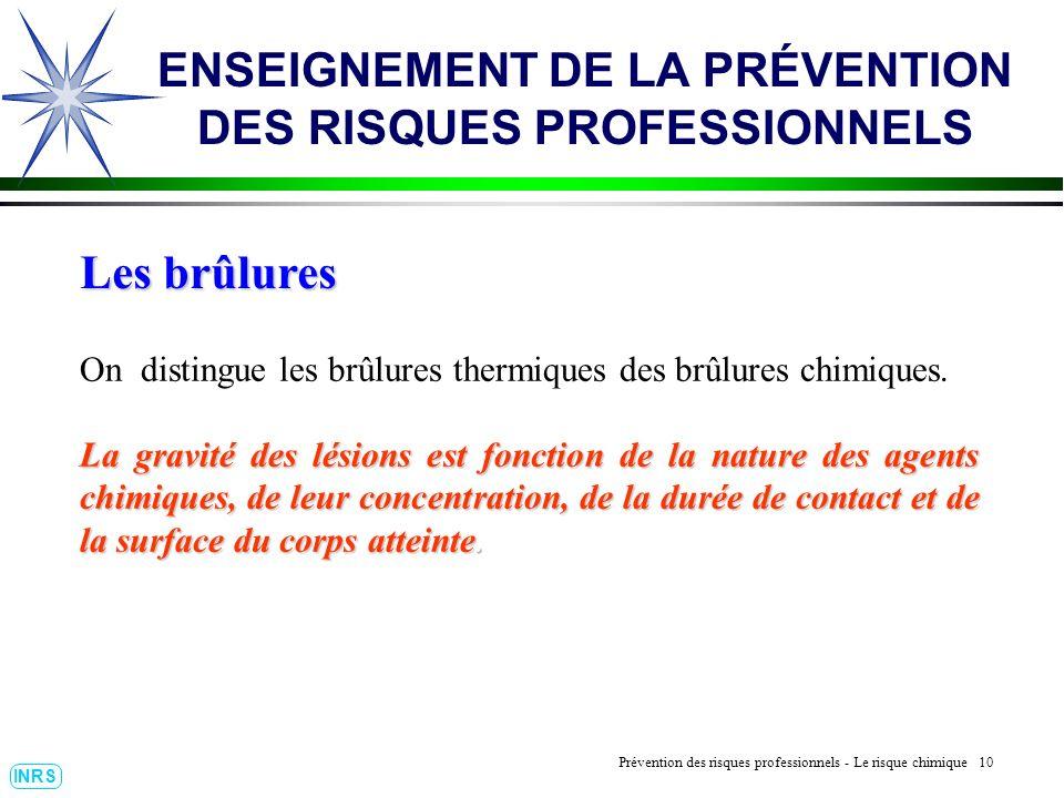 Prévention des Risques Professionnels : Construire un outil dobservation 10 INRS ENSEIGNEMENT DE LA PRÉVENTION DES RISQUES PROFESSIONNELS Les brûlures