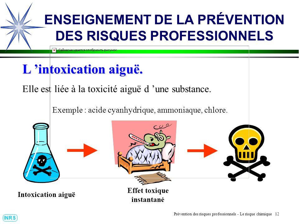 Prévention des Risques Professionnels : Construire un outil dobservation 12 INRS ENSEIGNEMENT DE LA PRÉVENTION DES RISQUES PROFESSIONNELS L intoxication aiguë.