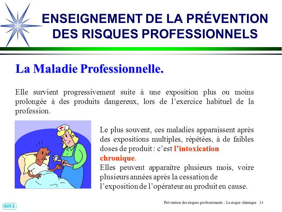 Prévention des Risques Professionnels : Construire un outil dobservation 14 INRS ENSEIGNEMENT DE LA PRÉVENTION DES RISQUES PROFESSIONNELS La Maladie P