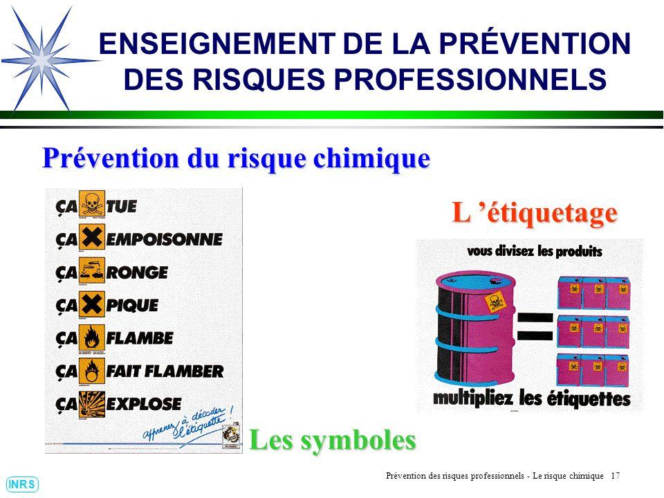 Prévention des Risques Professionnels : Construire un outil dobservation 17 INRS ENSEIGNEMENT DE LA PRÉVENTION DES RISQUES PROFESSIONNELS L étiquetage