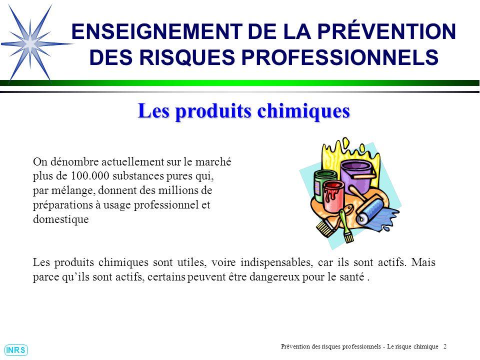 Prévention des Risques Professionnels : Construire un outil dobservation 13 INRS ENSEIGNEMENT DE LA PRÉVENTION DES RISQUES PROFESSIONNELS Les réactions dangereuses.