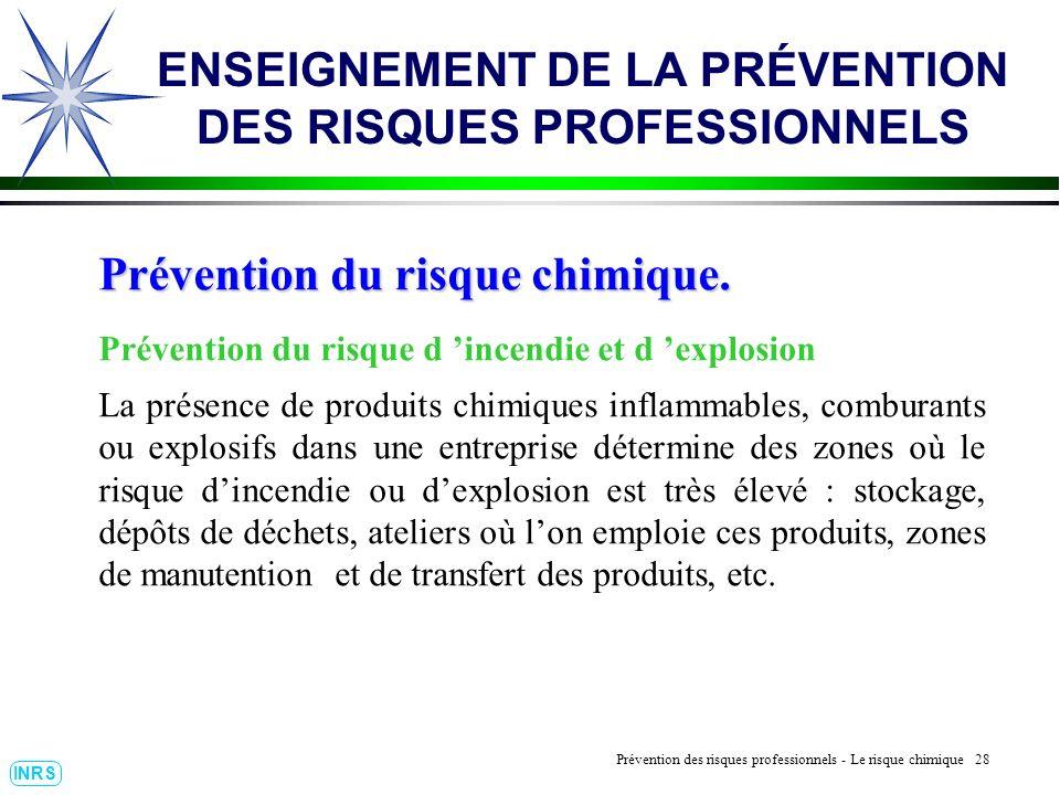 Prévention des Risques Professionnels : Construire un outil dobservation 28 INRS ENSEIGNEMENT DE LA PRÉVENTION DES RISQUES PROFESSIONNELS Prévention d