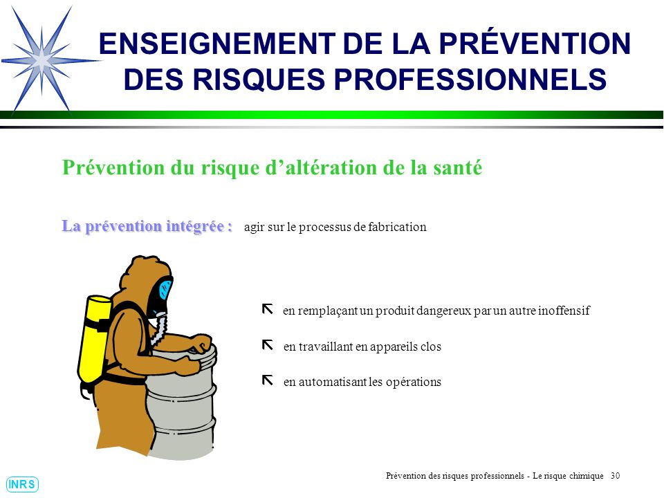 Prévention des Risques Professionnels : Construire un outil dobservation 30 INRS ENSEIGNEMENT DE LA PRÉVENTION DES RISQUES PROFESSIONNELS Prévention d