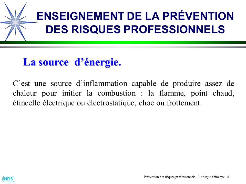 Prévention des Risques Professionnels : Construire un outil dobservation 8 INRS ENSEIGNEMENT DE LA PRÉVENTION DES RISQUES PROFESSIONNELS Prévention de